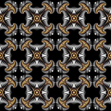 iron curtains: Abstract premium seamless pattern with golden and silver decorative ornament on black background Illustration