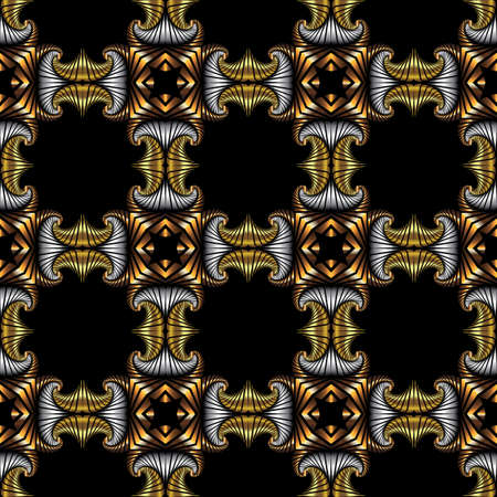 iron curtains: Abstract royal seamless pattern with golden, silver and bronze decorative elements on black background