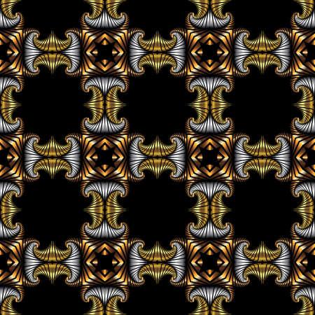 Abstrakt königlichen nahtlose Muster mit goldenen, Silber und Bronze dekorative Elemente auf schwarzem Hintergrund Standard-Bild - 60389321