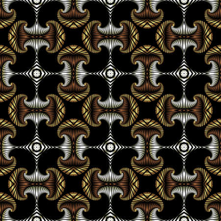 Abstract premium seamless pattern with golden, silver and bronze decorative elements on black background