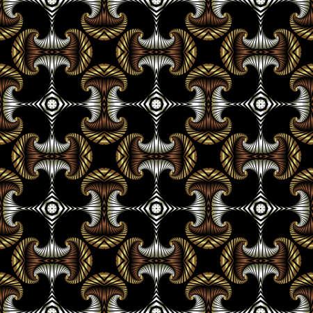 Abstrakt Premium nahtlose Muster mit goldenen, Silber und Bronze dekorative Elemente auf schwarzem Hintergrund Standard-Bild - 60389348