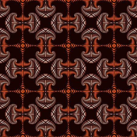 Zusammenfassung Premium nahtlose Muster mit metallisch orange und braun dekorative Elemente auf dunkelbraunem Hintergrund Standard-Bild - 60389358