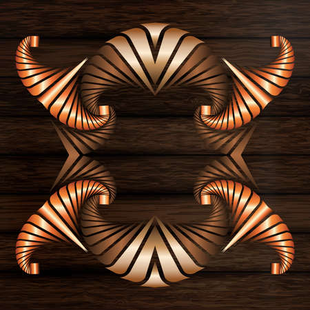 Abstract decorative frame of light and dark bronze and copper elements on dark brown wooden surface