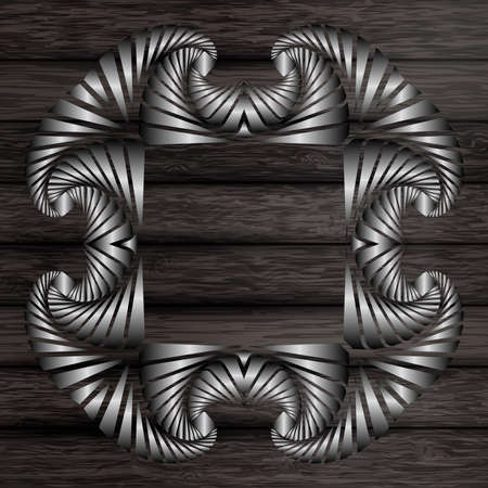 silver frame: Abstract decorative silver frame on dark grey wooden surface