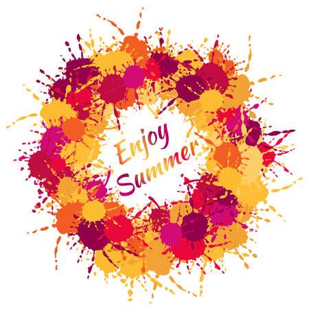 Abstract enjoy summer splash sticker of red, yellow, orange, violet and purple shades. Enjoy summer banner.