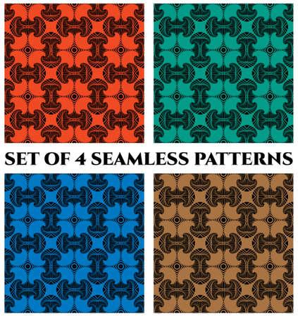 Abstrakte modische nahtlose Muster mit dekorativen Elementen des Fractal der roten, grünen, blauen und braunen Schatten Standard-Bild - 60389380