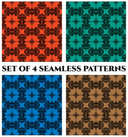 Abstract trendy seamless patterns with fractal decorative elements of red, green, blue and brown shades