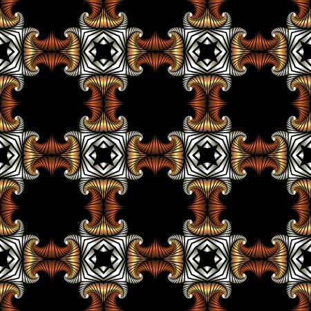 Abstrakt Luxus nahtlose Muster mit goldenen, Silber und Bronze dekorative Elemente auf schwarzem Hintergrund Standard-Bild - 60389381