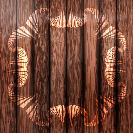 Abstract painted ornamental frame on dark brown wooden fence Illustration
