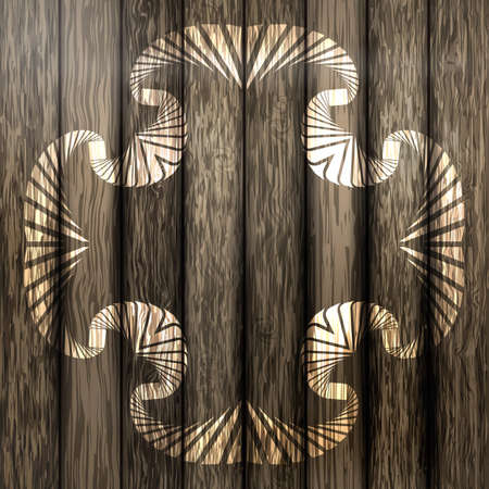 floorboard: Abstract ornamental frame on brown plank wooden background Illustration