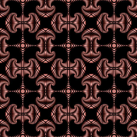 Abstract trendy seamless pattern with red metallic decorative elements on black background