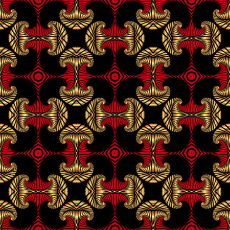 Abstract deluxe seamless pattern with golden and red decorative ornament on black background