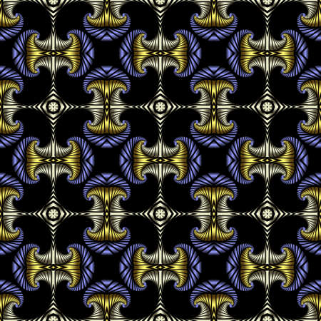 iron curtains: Abstract deluxe seamless pattern with golden, stainless steel and blue metallic decorative elements on black background Illustration