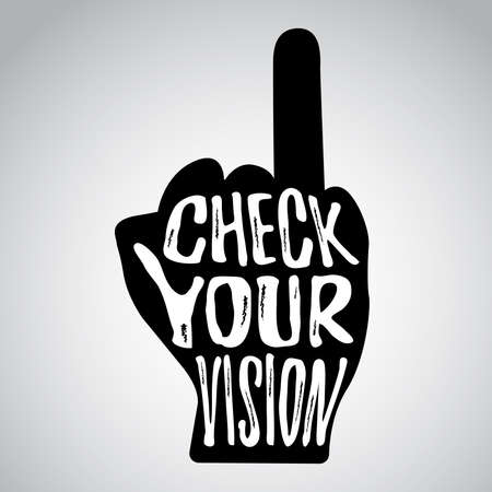 insult: Check your vision message on hand with raised ring finger Illustration