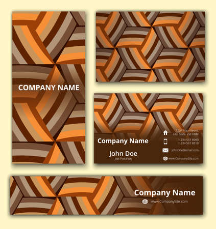 pattern corporate identity orange: Business set of business card, banner and invitation card with trendy geometrical decoration in brown shades