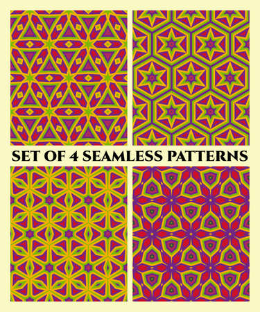 violet red: Abstract modern decorative geometrical seamless patterns of different shapes in red, green, violet and yellow shades