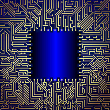 capacitor: Technological background of motherboard with chip of golden and blue shades