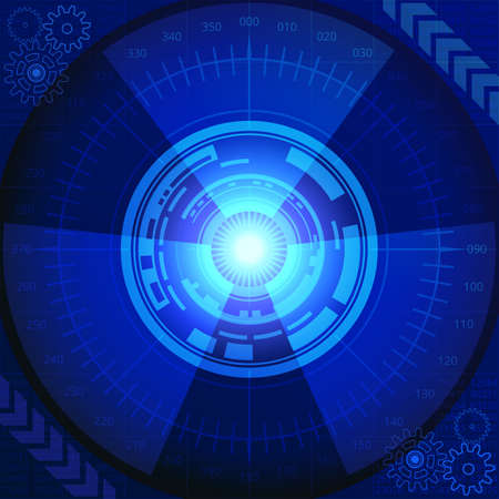Abstract background of futuristic technology in blue shades. Digital technology and engineering concept design Illustration