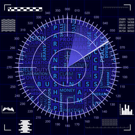 Radar screen with different business words of blue and white shades Illustration