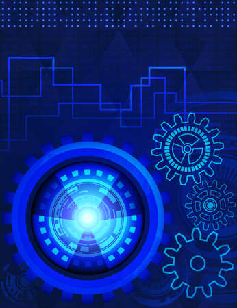 presentation card: Abstract background of futuristic technology with gears in blue shades. Digital technology and engineering concept design