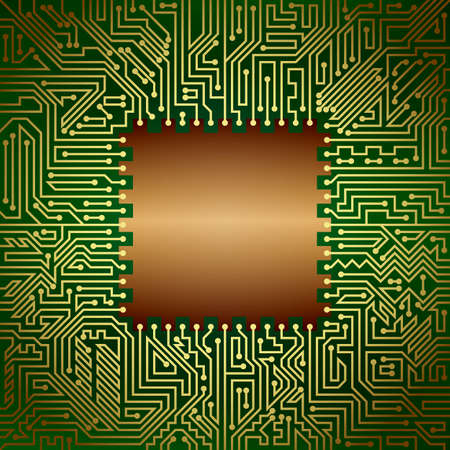 capacitor: Computer motherboard background of golden, bronze and green shades. Computer hardware technology