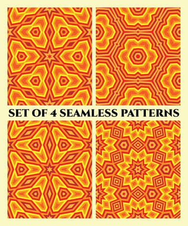 Abstract decorative seamless patterns of different geometrical shapes in red, orange, cherry and yellow shades Illustration