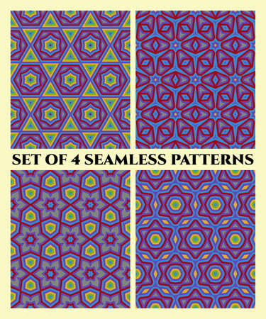 violet red: Abstract decorative seamless geometrical patterns of red, blue, green, yellow and violet shades
