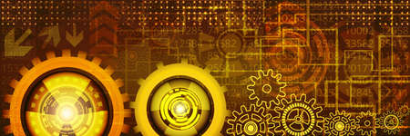 website header: Abstract futuristic technology banner with gears of yellow, orange and brown shades. Digital technology and engineering concept design