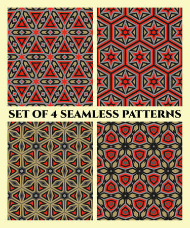 Abstract stylish seamless patterns with decorative ornament of red, grey, black and light brown shades Ilustrace