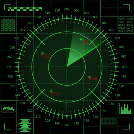 Digital green radar screen with targets and futuristic user interface on black screen Illustration