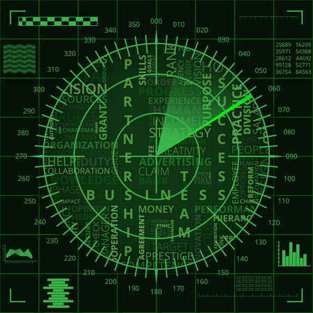 Radar screen with different business words of green shades