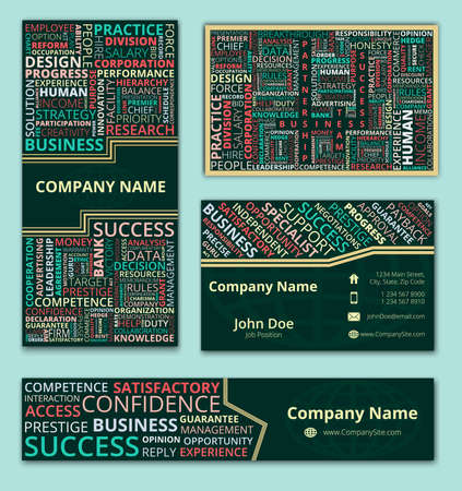 business words: Business set of business card, banner and invitation card with colorful business words design on dark green background Illustration