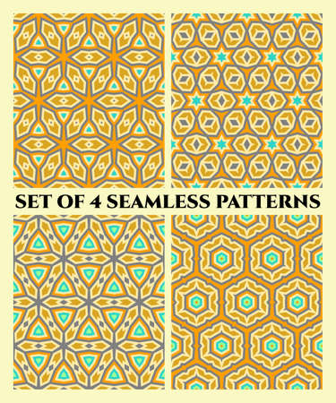 shades of grey: Abstract seamless geometrical patterns of red, grey and yellow shades