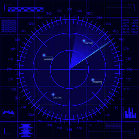 Blue radar screen with targets and futuristic user interface on dark blue background