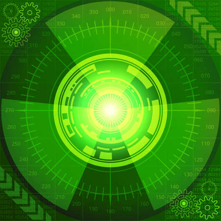 Abstract background of futuristic technology in green shades. Digital technology and engineering concept design Illustration