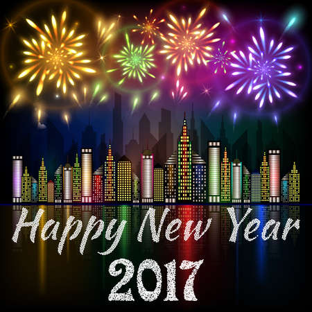 Happy New Year 2017 banner decorated with colorful fireworks exploding in night sky over downtown city with reflection in water