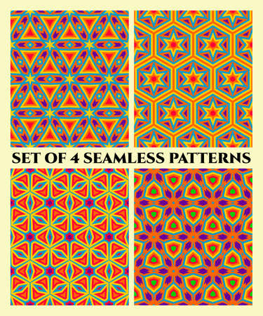 violet red: Abstract stylish seamless patterns with decorative ornament of red, blue, orange, yellow, violet and green shades
