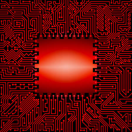 Technological background of motherboard with chip of red and black shades Illustration