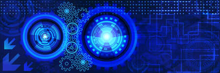 Abstract futuristic technology banner with gears of blue shades. Digital technology and engineering concept design Illustration
