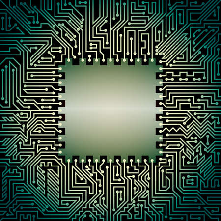 soldering: Computer motherboard background of green and black shades. Computer hardware technology
