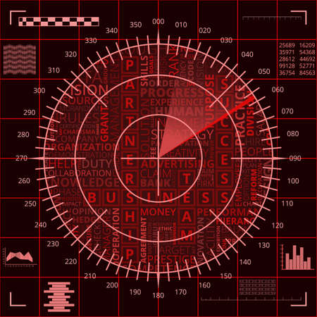 Radar screen with different business words of red shades