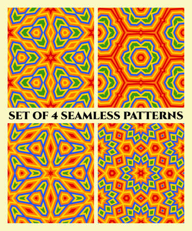 Abstract stylish decorative seamless geometrical patterns of blue, yellow, orange, red and green shades