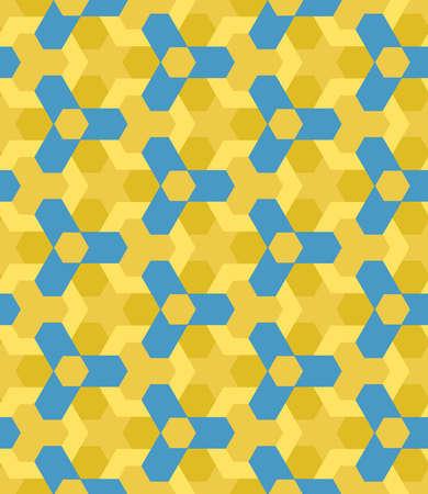 ochre: Abstract blue and ochre shades decorative seamless geometric pattern