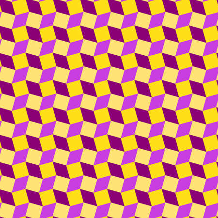 Abstract modern rhombus and square shapes seamless pattern of purple, violet and yellow colors