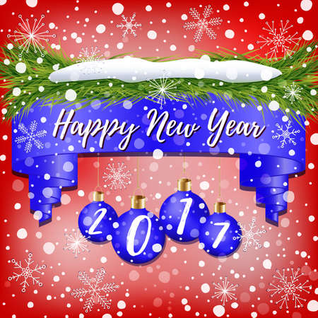 Composition of New Year banner decorated with blue Christmas balls, Christmas tree branches, snow and snowflakes on red background Çizim