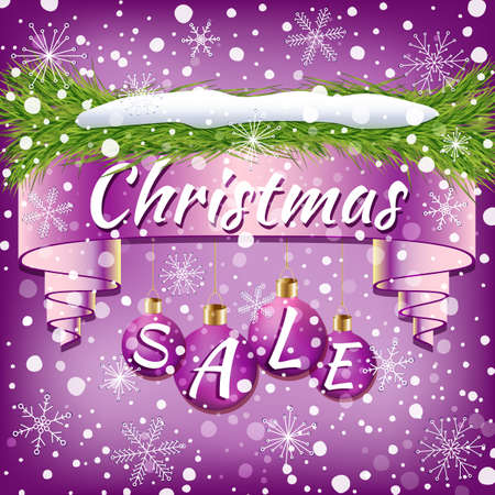 Holiday promotional advertising ribbon with decoration of Christmas balls, Christmas tree branches, snow and snowflakes in violet shades