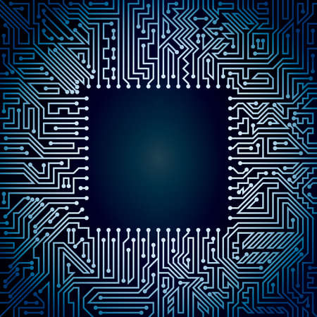 computer hardware: Computer motherboard background of light and dark blue shades. Computer hardware technology