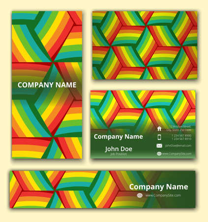 Business set of business card, banner and invitation card with trendy colorful geometrical decoration Çizim