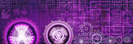 Abstract technological banner with various elements of violet and white shades. Digital technology and engineering concept design