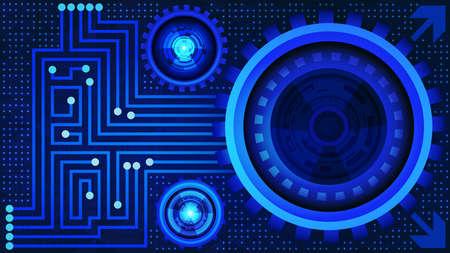 Resumen de antecedentes de la tecnología futurista con engranajes en tonos azules. La tecnología digital y el diseño de concepto de ingeniería